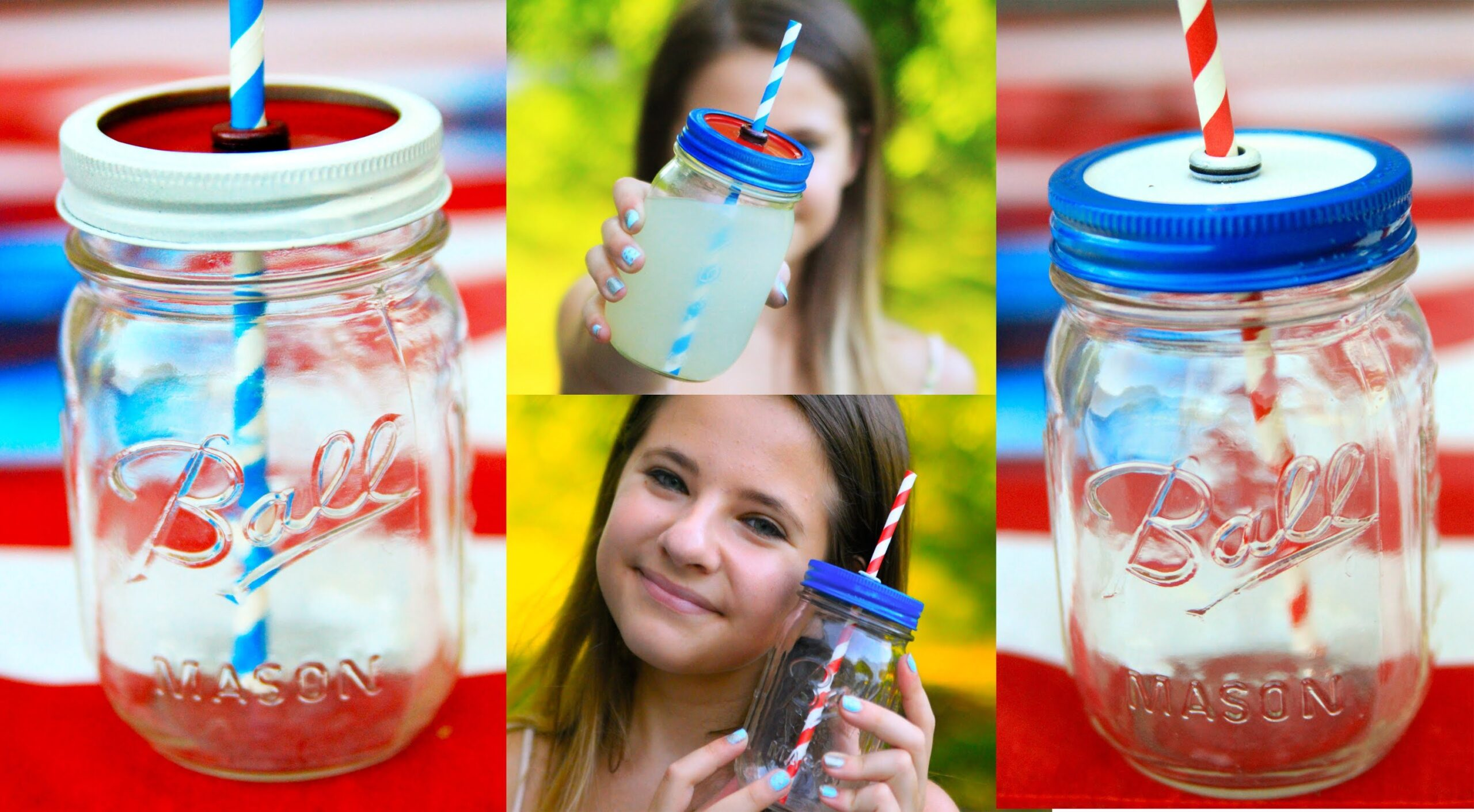 DIY Mason Jar Cups (NO DRILL) 4th of July Edition!
